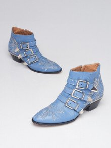 Chloe Blue Leather Studded Susanna Ankle Boots Size 8/38.5