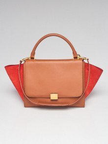 Celine Brown/Red Leather and Suede Medium Trapeze Bag