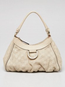 Gucci Ivory Guccissima Leather Small D-Ring Hobo Bag