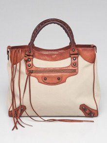 Balenciaga Beige Canvas and Brown Lambskin Leather Motorcycle Velo Bag