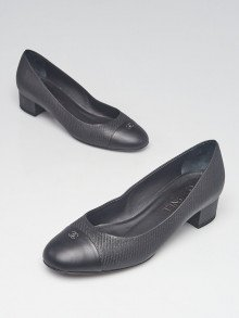 Chanel Black Embossed Leather Cap Toe CC Low Heel Pumps Size 8/38.5