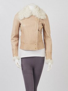 Gucci Beige Leather/Shearling Motorcycle Jacket Size 4/38