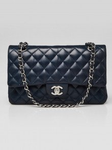 Chanel Navy Blue Quilted Lambskin Leather Classic Medium Double Flap Bag